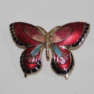 Vintage Cloisonne Enamel Butterfly Brooch